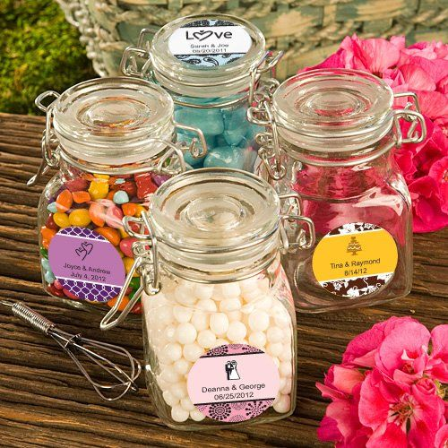 """Personalized Expressions Collection Apothecary Jar Favors  Buy 96 and are .80. 1.75  x 3""""  square apothecary jar"""