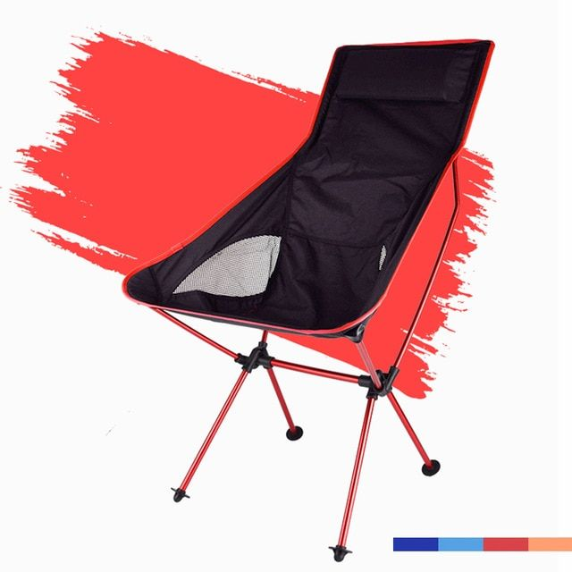 Beach Chair Outdoor Furniture Camping, Red And Black Folding Patio Chairs