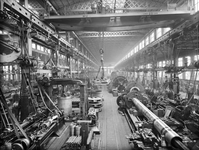 Turning shop in the engineering department of Harland and Wolff