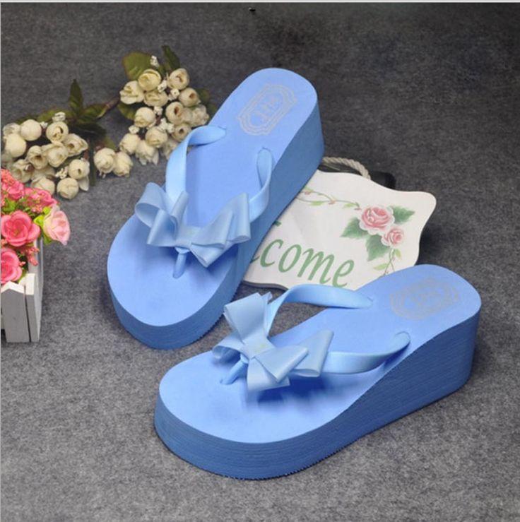 Лето бантом обувь домашние тапочки женщин мода женщин сандалии гавайи плоские клин вьетнамках леди тапочки домашние тапочки купить на AliExpress