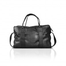 ASIA  Phyton duffel bag. With handles, shoulder belt and details in leather. Functional and capacious.Designed for a naturally stylish clientele for whom the handbag is not merely an accessory but a projection and confirmation of her own image. With zip.