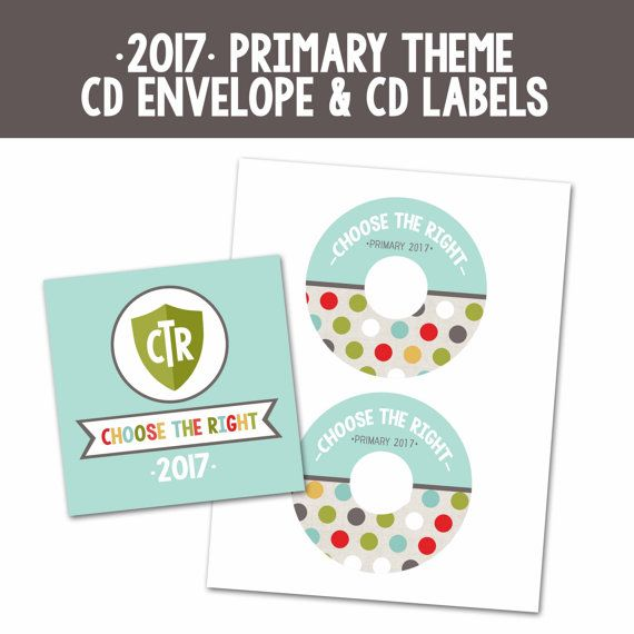 2017 LDS Primary Theme CD Envelope and Labels. Perfect for sending home all your…