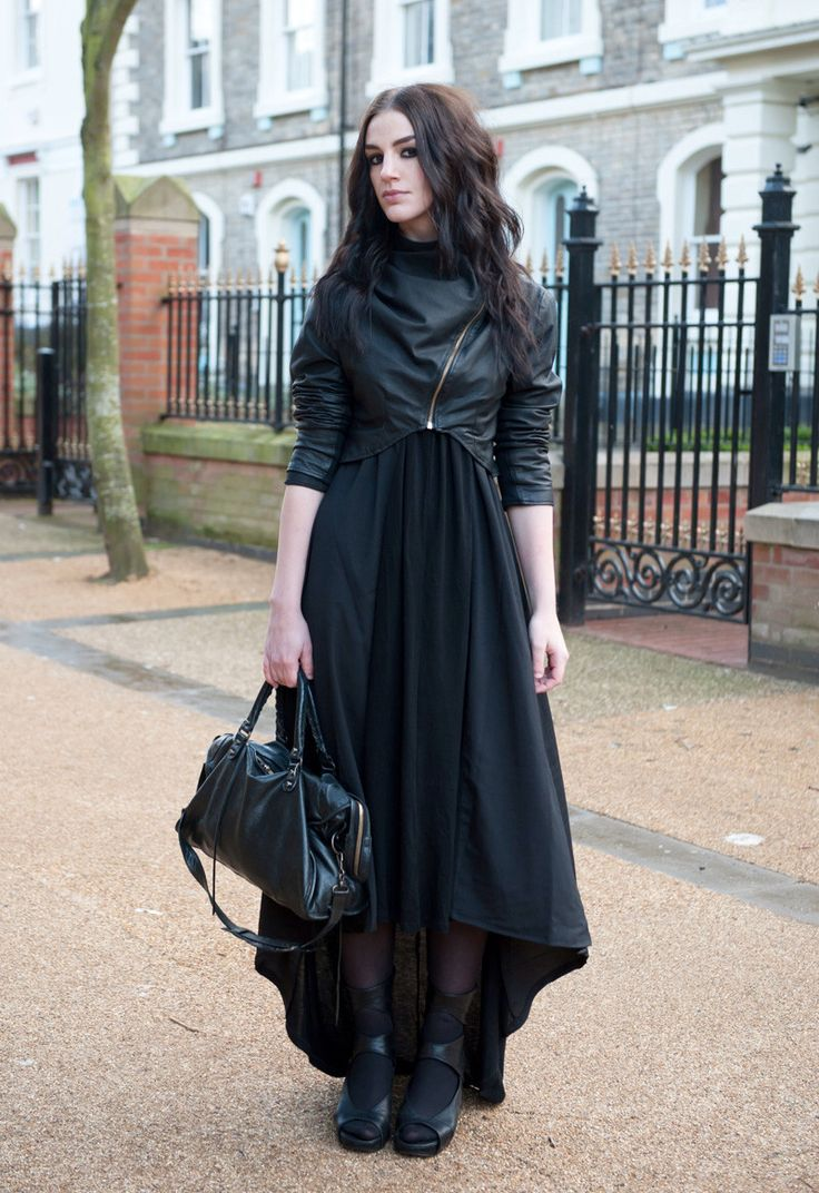 leather jacket, all black, fitted top and maxi skirt, boots