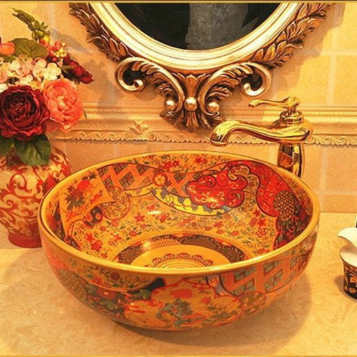 Contemporary Art Sites Europe Style Porcelain Hand Painted Art Lavatory Sink Antique Bathroom Vessel Sink in Bathroom Sinks