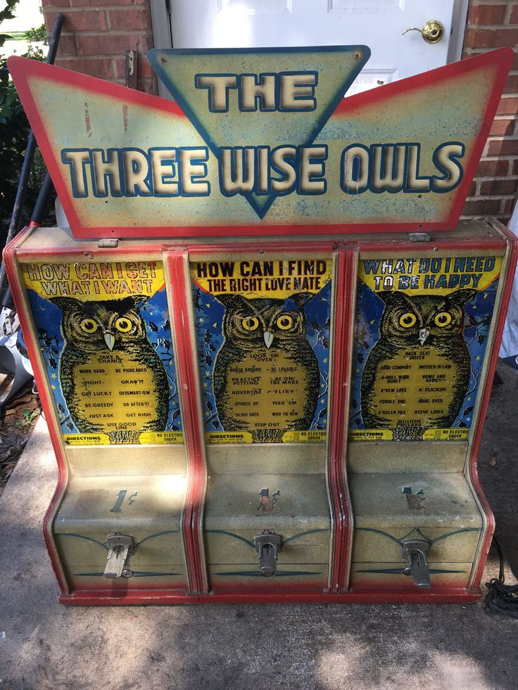 """Exhibit Supply Co. Triple Amusement Games """"The Three Wise Owls"""", Penny Arcade Machines found in Coney Island, Amusement Parks and Penny Arcades. Exhibit Supply Triple Amusement Game Unit """"The Three Wise Owls"""" with..., https://www.gameroomshow.com/product/penny-arcade-machines/exhibit-supply-co-triple-amusement-games-three-wise-owls/, 2400.00, IMG_4164"""