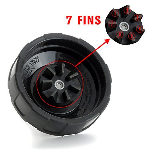 """Replacement Parts for Nutri Ninja Blender by Korsmall,Extractor Blade Assembly with 7 Fins on Bottom For Auto iQ 900w 1000w Blender(Black, Pack of 1)  Compatible with: Nutri Ninja Auto iQ BL2013 NN102 BL642 BL482 BL2012 BL481 BL486CO BL487 BL487A BL488W BL490 BL491 BL492 BL492W BL640 BL641 BL642W BL642Z BL680A NN100 NN101((Only fit for Ninja 18oz, 24oz, 32oz not fit for 16oz).)  7 Fins, 4""""/10CM diameter, 165g  PLEASE NOTE: NOT FIT these model number blenders: BL660 (1100 watt), BL663 (..."""