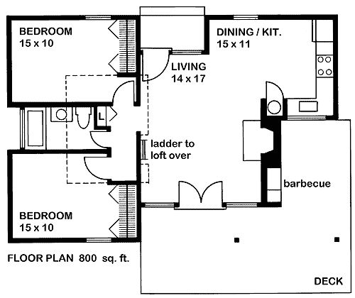 cute tiny house plan with two bedrooms, a wrap around porch, and a