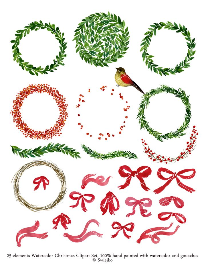 Watercolor Christmas Clipart - hand painted wreaths and other floral elements It will be perfect illustration for your Christmas cards, Christmas tags and other your Holiday ideas! Size