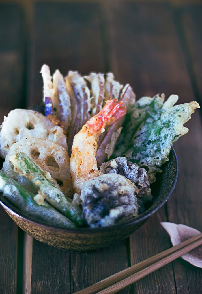Tempura (a Japanese dish of seafood or vegetables that have been battered and deep fried)