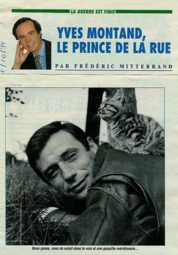 Yves Montand par Frédéric Mitterrand / 1994 / 2p. / Coupure de presse, Clipping