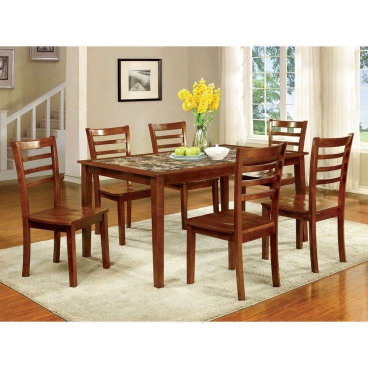 Superb Furniture Of America Tillman 7 Piece Faux Marble Dining Table Set    IDF 3521T
