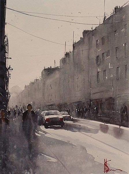 Alan Somers-Passerby Capel #dublin #art #painting #watercolour #citystreets #fineart