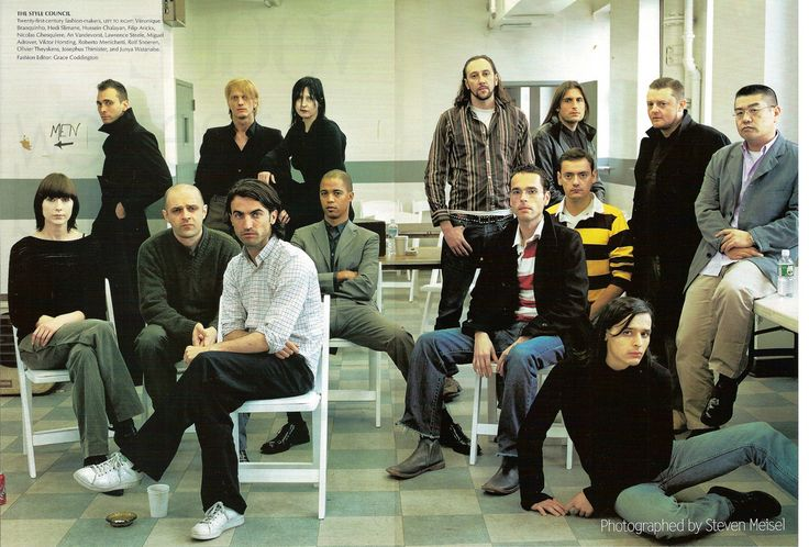 The style council:Twenty-first-centrury fashion-makers, left to right: Véronique Branquinho, Hedi Slimane, Hussein Chalayan, Filip Arickx, Nicolas Ghesquière, An Vandevorst, Lawrence Steele, Miguel Adrover, Viktor Horsting, Roberto Menichetti, Rolf Snoeren, Olivier Theyskens, Josephus Thimister and Junya Watanabe.    The New Guard by Steve Meiselstyling: Grace Coddington  Vogue US, July 2000