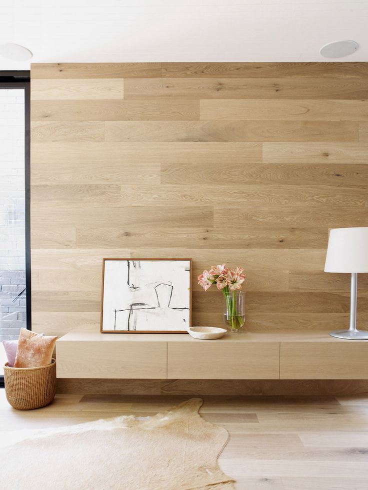 White Smoked timber flooring (seen here on walls and floor) by Harper & Sandilands, Interior by Sanders & King