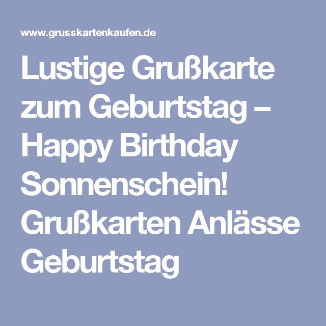 Lustige Grußkarte Zum Geburtstag U2013 Happy Birthday Sonnenschein! Grußkarten  Anlässe Geburtstag