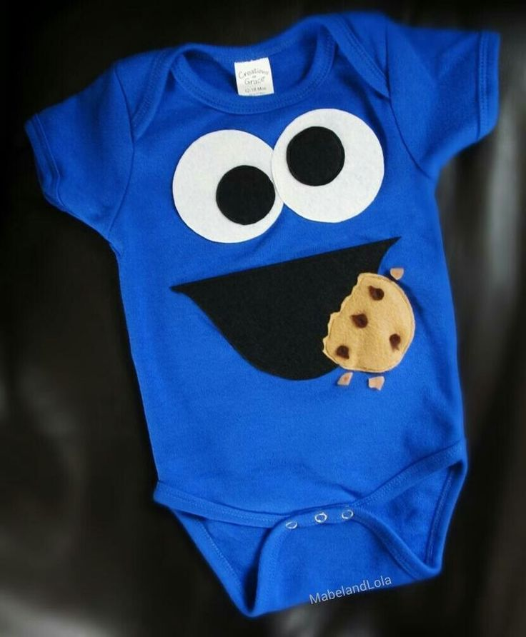 Cookie Monster Themed 1st Birthday Party Outfit Boys Body Suit 12-18 mo Costume #Handmade #Everyday