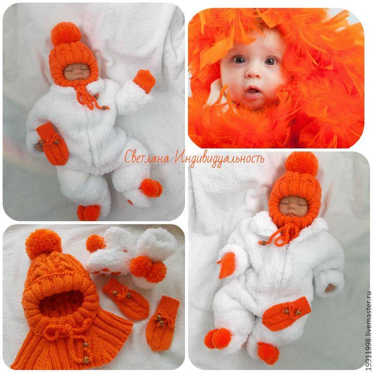 Купить Комплект Апельсинка - белый, однотонный, для новорожденного, для новорожденных, одежда для новорожденных, комбинезон, вязание спицами