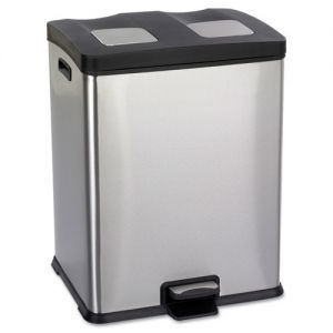 """Safco Right-Size Recycling Station  - 19"""" x 16"""" x 25"""" - 15 Gallon Capacity - Stainless Steel, Plastic - Black"""