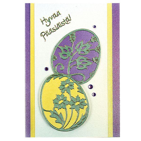 Ääriviivatarrojen avulla valmistettu pääsiäiskortti.