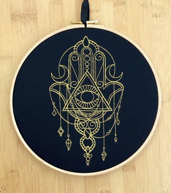 Hamsa hand talisman embroidered art all by StitchesOfAnarchy