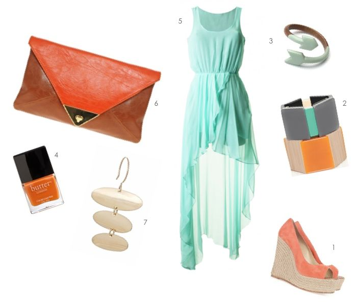 nectarine orange and aqua blue coordinated outfit for your honeymoon!