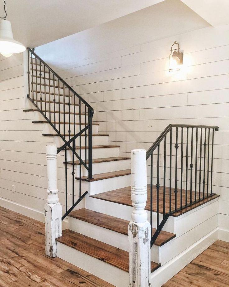 80 Modern Farmhouse Staircase Decor Ideas (34 In 2019