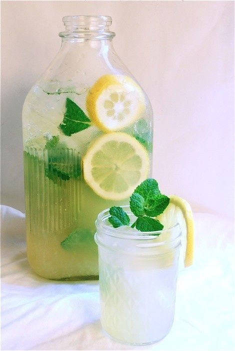 Mint Lemonade: 1 cup sugar  1 cup water, plus 3 or 4 cups more  5 sprigs of fresh mint, plus more for garnish?  1 1/2 cups fresh squeezed lemon juice (roughly 10 small lemons)  several lemon slices for garnish