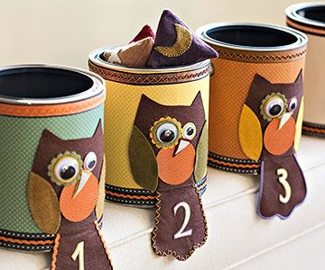 Create a fun Halloween game with decorated paint cans and beanbags. More about this project: http://www.bhg.com/halloween/parties/beanbag-toss-buckets/