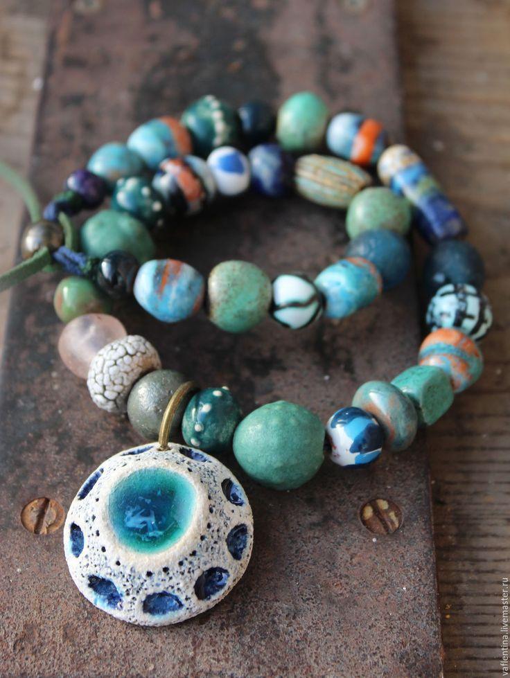 """Купить """" Симург"""" керамическое ожерелье - морская волна, бирюзовый, древний, старинные украшения, этно"""
