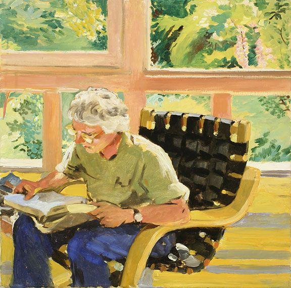 Sandra Fisher Kitaj Reading (Elm Park Road) 1989 oil on canvas, 10 x 20 inches Collection of Max Kitaj (c) Estate of Sandra Fisher