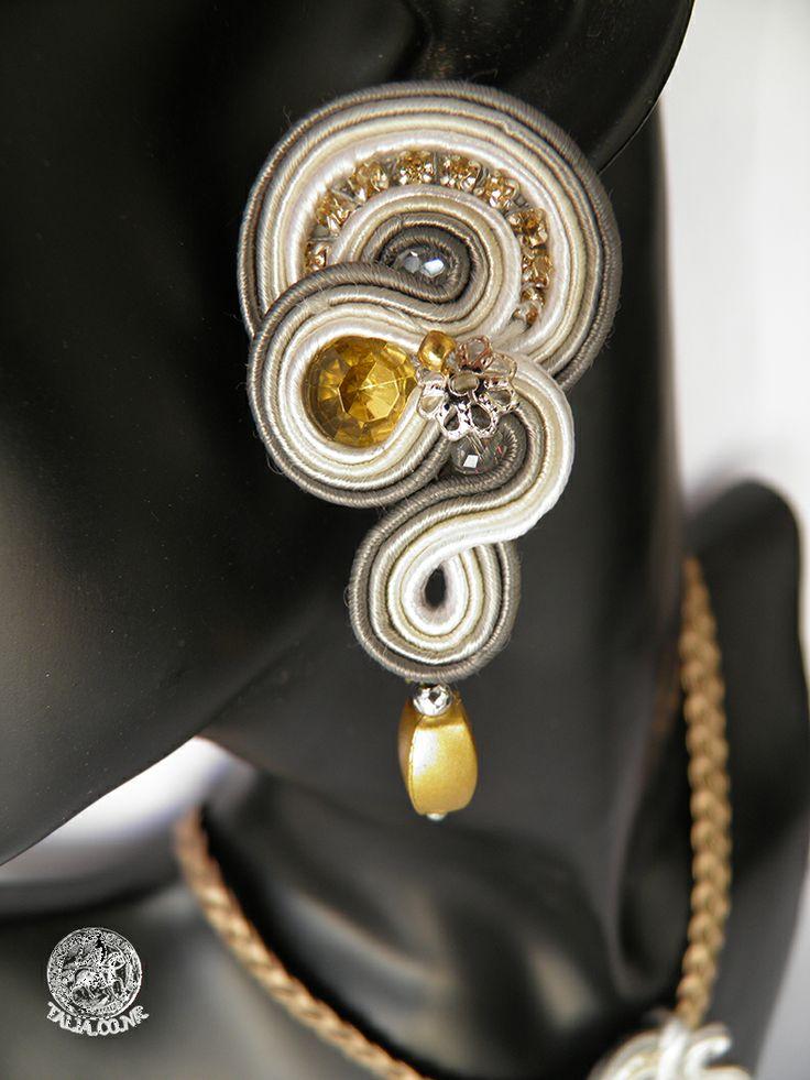 Soutache set: earrings & pendant in Grey