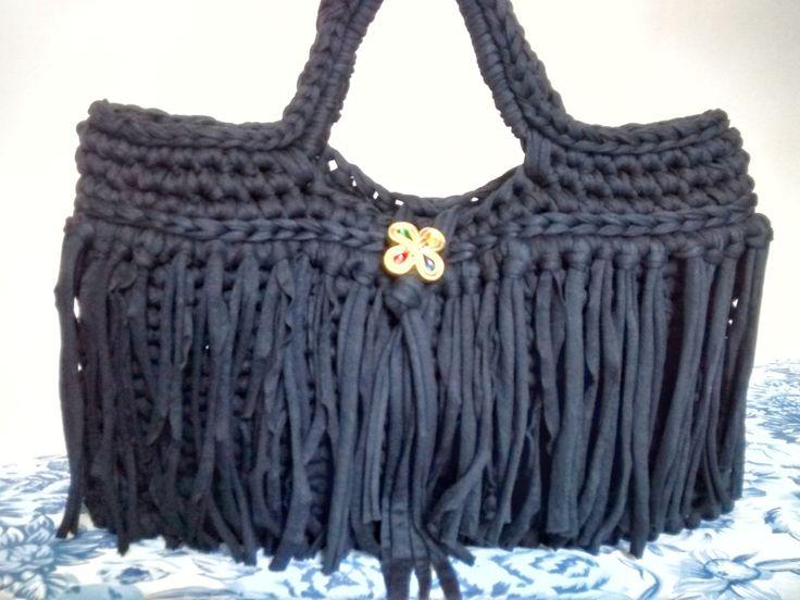 Bolsa de croche preta e branca : Melhores ideias sobre bolsas de franja no