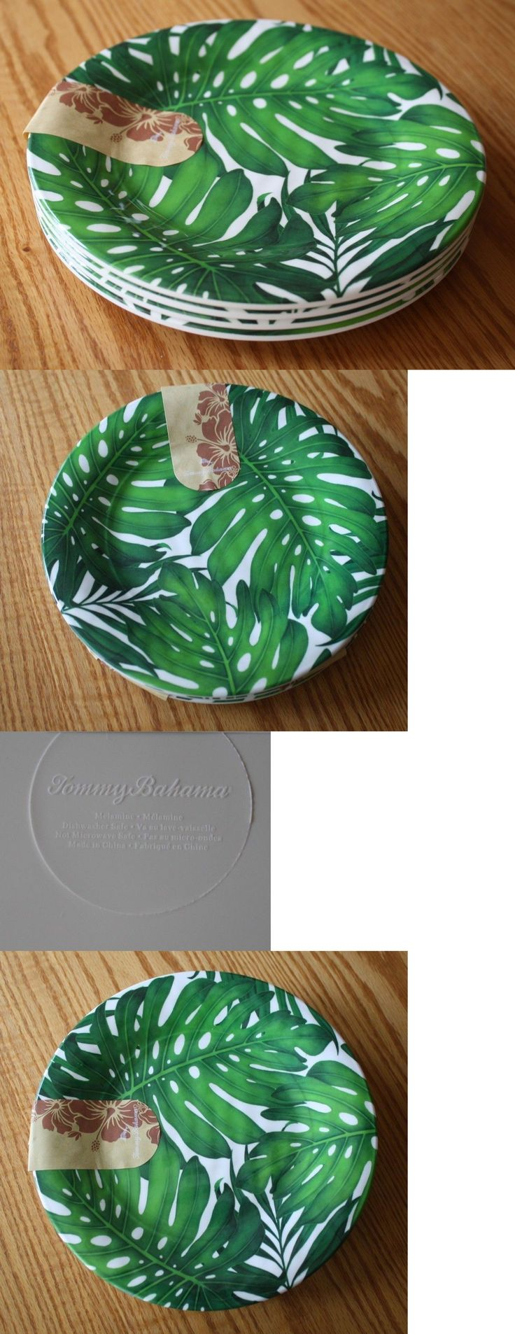 Plates 36030: Set 4 Tommy Bahama Hawaiian Tropical Green Palm Trees Melamine 10 Dinner Plates -> BUY IT NOW ONLY: $37.99 on eBay!