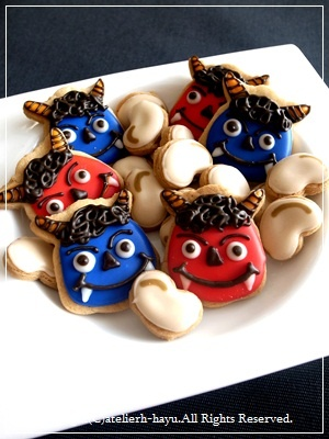 japanese demon sugar cookies for setsubun ceremony