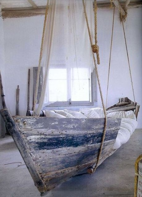 DIY hanging bedroom bed with boat