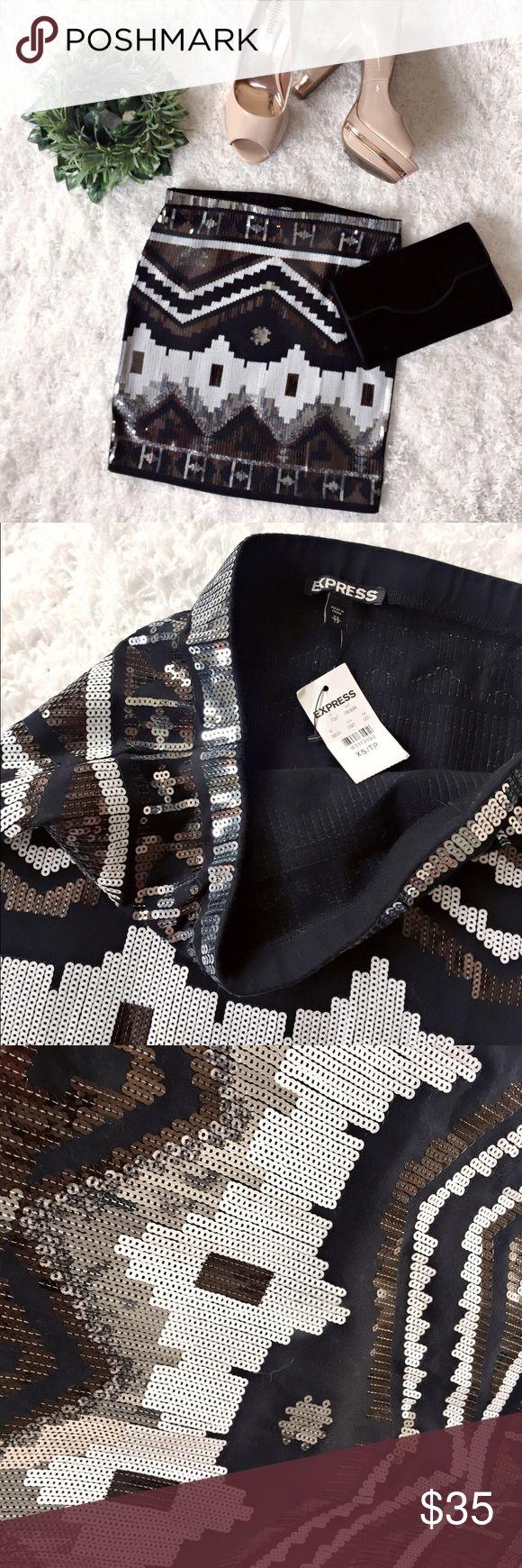 "Trivial Inspired Sequin Dress NWT. Aztec Sequin skirt. Measures 16"" long, 26"" waistline. Express Skirts Mini"