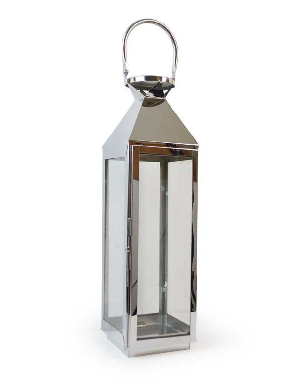 Large 62cm Chrome Lantern Stainless Steel Silver Glass Glass