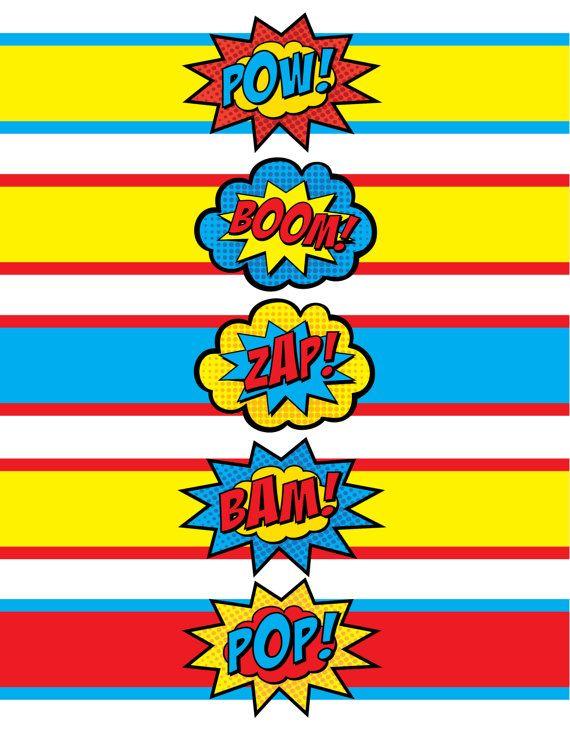 Superhero Waterbottle Labels • Pow! Boom! Zap! Pop! Bam ...