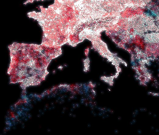 Gregor Aisch visualizes the digital divide by mapping ip addresses vs places vs population