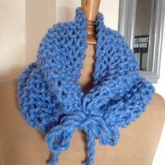 Snood - cornwell - tour de cou tricoté bleu clair