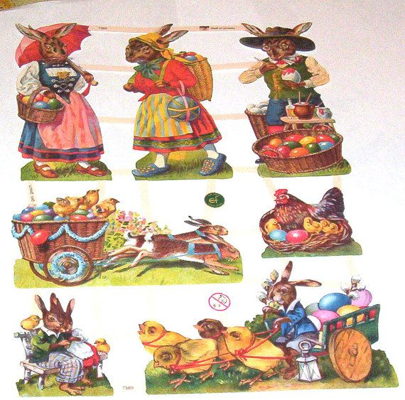 New German beautiful colorful Victorian Humanized old fashioned Easter bunny rabbits chicks carts die cuts scraps sheet EF 7389 paper crafts