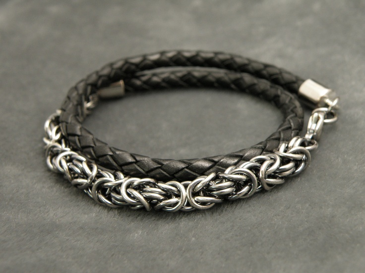 Leather wrap & chainmail bracelet