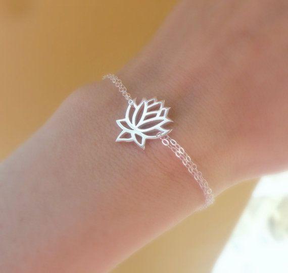 Argent bracelet Lotus, bracelet réglable, bijoux lotus, bijoux d'yoga, bijoux zen, bracelet en argent sterling, mince, maigre Bagu
