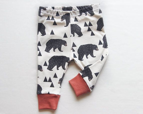 Baby Leggings Woodland Bear, Toddler Boy Pants Organic Cotton Clothes Newborn Infant Hipster Designer Rustic Woodsy Forest Animal