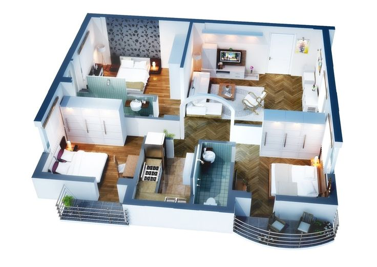 Marvelous Isometric Floor Plan Render Made For Residential Apartment.