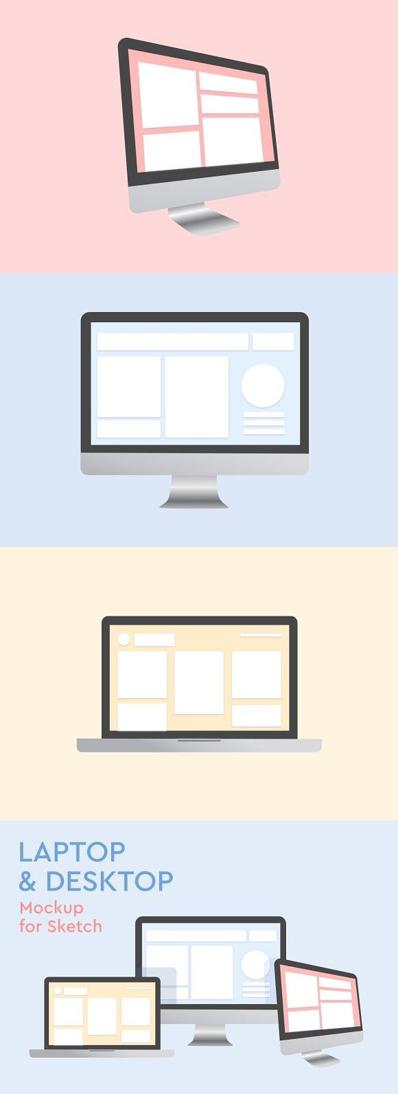 Laptop And Desktop Mockup For Sketch Mockup Branding Mockups Online Design