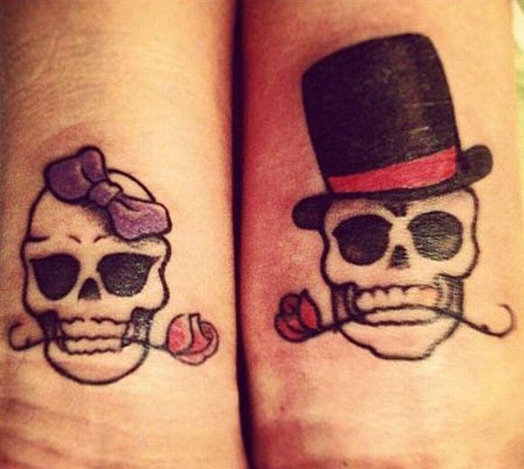 casal caveira mexicana tattoo