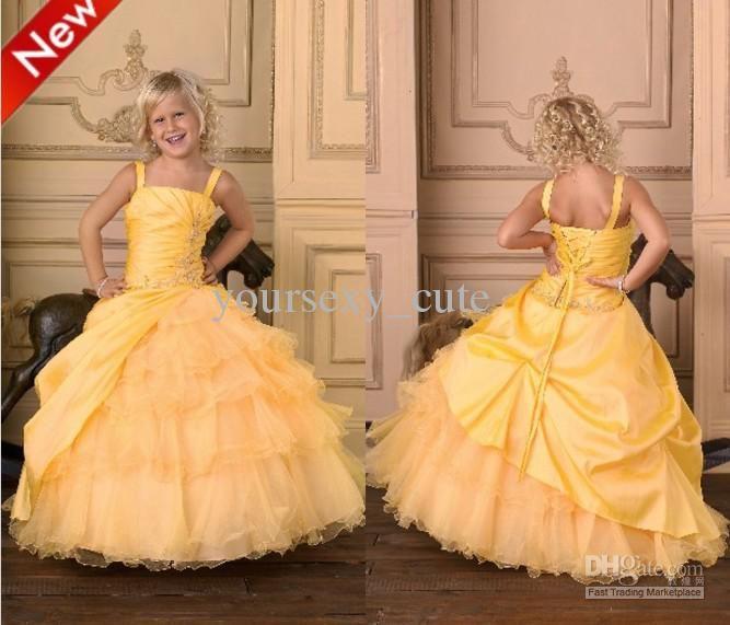 Yellow Taffeta Flower Girl Dress
