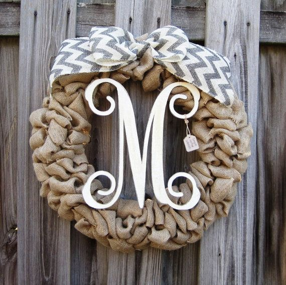 SALE Rustic Southern Chic Single Letter Wood Monogram Burlap Wreath Shown in Grey Chevron on Etsy, $55.00