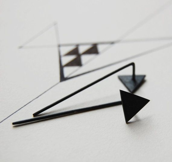 Oxidized silver geometrics triangle pendants earringsNro7 by AgJc